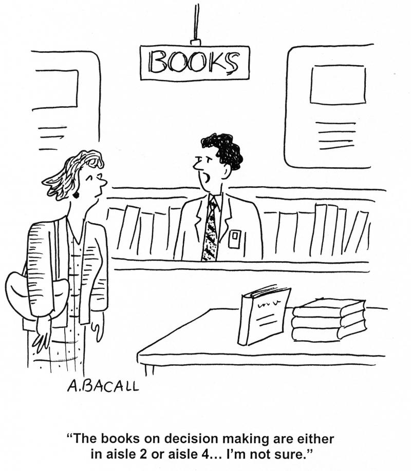 Uncertain Librarian Cartoon